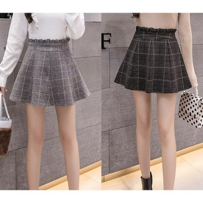 全2色 スカート フリル 切り替え バイカラー チェック柄  大きいサイズ