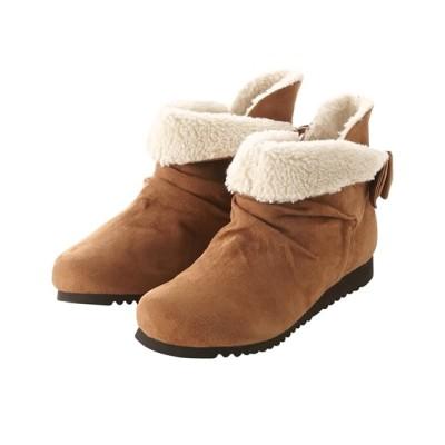 【ゆったり幅】つま先ゆったりバックリボンショートブーツ(低反発中敷)(ワイズ4E) ブーツ・ブーティ, Boots