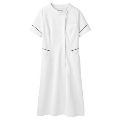 住商モンブラン ナースワンピース(半袖) 医療白衣 白/シルバー&ネイビー 3L 73-1714(直送品)
