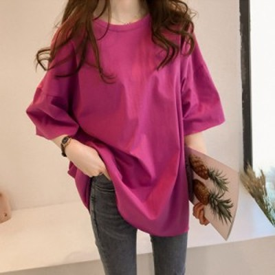 ボックスシルエット風5分袖Tシャツ コットン ゆる可愛 無地 丈長め ワイド袖 カジュアル 豊富 全5色