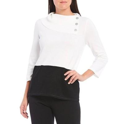 インベストメンツ レディース パーカー・スウェット アウター Petite Size 3/4 Sleeve Foldover Cowl Neck Collar Colorblock Lightweight Sweater