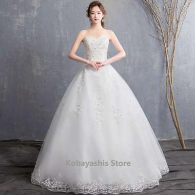 白エンパイアウェディングドレスビスチェドレス編み上げレースビスチェホワイトドレスお洒落結婚式花嫁ラインストーン