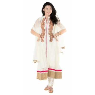 【送料無料】 サフェードのパンジャビドレス 3点セット 白×赤 / パーティードレス コスプレ インドのドレス パンジャービードレス サリ