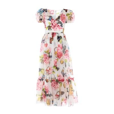 ドルチェ & ガッバーナ DOLCE & GABBANA ロングワンピース&ドレス ホワイト 36 シルク 100% ロングワンピース&ドレス