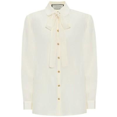 グッチ Gucci レディース ブラウス・シャツ トップス Silk-crepe blouse Alabastro