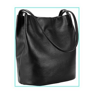【新品】Iswee Leather Totes Shoulder Bag Fashion Handbags and Purses for Women and Ladies (Black)(並行輸入品)
