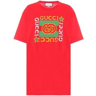 グッチ Gucci レディース Tシャツ トップス logo cotton t-shirt Live Red/Multicolor