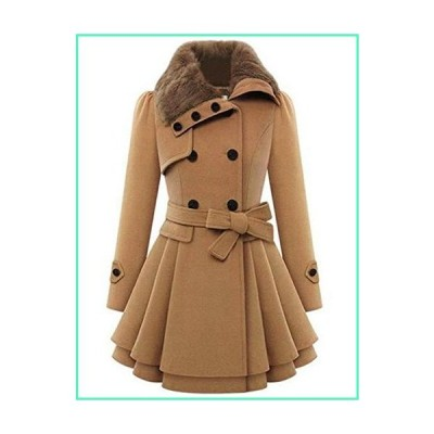 Zeagoo Women Long Sleeve Faux Fur Lapel Double-Breasted Thick Wool Coat Large, Camel, Large並行輸入品