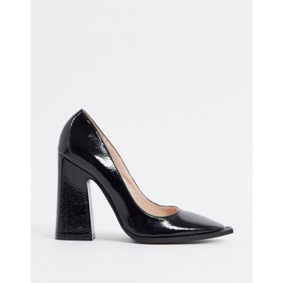 レイド Raid レディース ヒール スクエアトゥ シューズ・靴 Daleyza Block Heeled Shoe With Statement Square Toe In Black ブラッククリンクルパテント