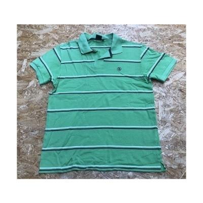 AIGLE エーグル Sサイズ メンズ ポロシャツ オープンカラー ボーダー ロゴ刺繍 半袖 カットソー 綿100% 黄緑×オフホワイト×グレー