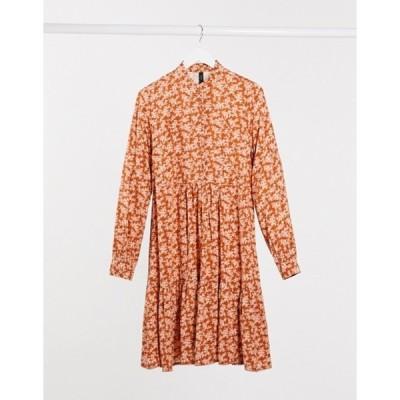 ワイエーエス レディース ワンピース トップス Y.A.S Carla printed smock mini dress in orange mutli