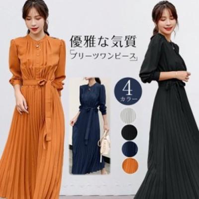 韓国 ファッション 落ちついた色味できれいめコーデに仕上がる プリーツワンピース ワンピ レディ ワンピース シフォンワンピ レディース