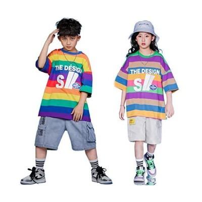 キッズ ダンス 衣装 ヒップホップ 総柄 Tシャツ 韓国子供服デニム パンツ 子供服 半袖 ゆったり 男の子 女の?