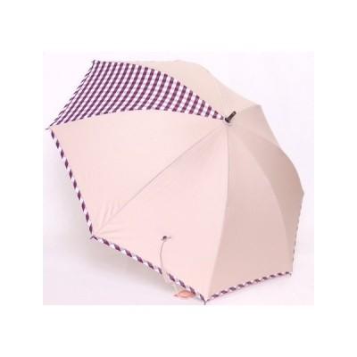 晴雨兼用カラーコーティング×綿先染め 桜骨 チェック ショート傘