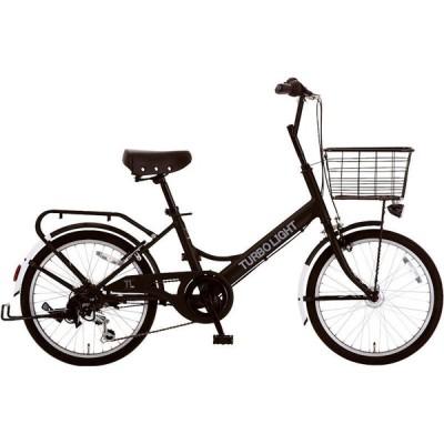 ミニベロ シオノ ターボライト 20 外装6段 オートライト (フラットブラック) 2020 SHIONO TURBO LIGHT 206 塩野自転車 小径自転車