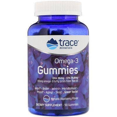 Omega -3 Gummies, Natural Blueberry, 90 Gummies