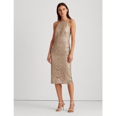 ラルフローレン ワンピース トップス レディース Sequined Lace Dress Gold