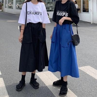 送料無料2019 夏2色★最強の新作★韓国ファッション可愛い デザイン ハイウエスト ロングスカート