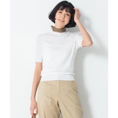 23区 【洗える】ALBINIセーターマシーン 半袖ニット (ホワイト系)