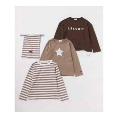 【b-ROOM】【プチプラ通園セット】巾着付きTシャツ3枚セット ブラウン【PTPR】