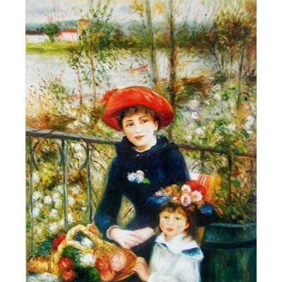 油絵  ルノワールの名作「二人の姉妹・テラスにて」