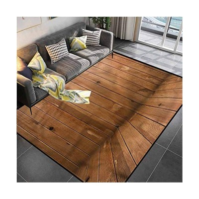 Area Rug Print Large Rug Mat Camel Color,Wooden Planks Interior Desk Chair mat for Carpet for Living Room Bedroom Playing Room 5'x7'[並行輸入品]