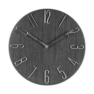 MILEADER 壁掛け時計 凸凹な3D立体数字 オープン時計 木目調盤 掛時計 連続秒針 静音 ウォールクロック おしゃれ 12インチ 直