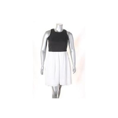 ディーケーエヌワイシー ドレス ワンピース フォーマル DKNYC ブラック ホワイト ノースリーブ アシンメトリカル ドレス サイズ 16 139 LAFO