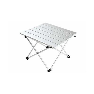 sopii アウトドア ロール テーブル 折りたたみ式 アルミ 収納袋付き コンパクト 軽量 (シルバー)