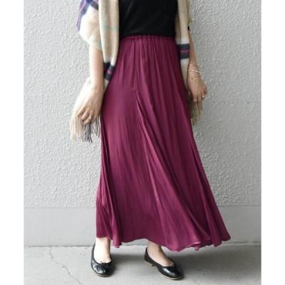 スカート SHIPS any: タンブラー サテン ロングスカート◇