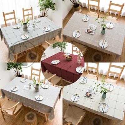 テーブルクロス 長方形/方形 タッセル チェック柄 麻生地 テーブルカバー 食卓カバー モダン オシャレ キッチン