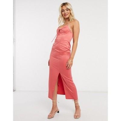 トップショップ レディース ワンピース トップス Topshop bustier slip midi dress in sorbet Pink
