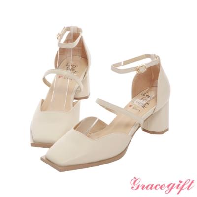 Grace gift X Kerina-聯名方頭雙帶設計中跟鞋 米白