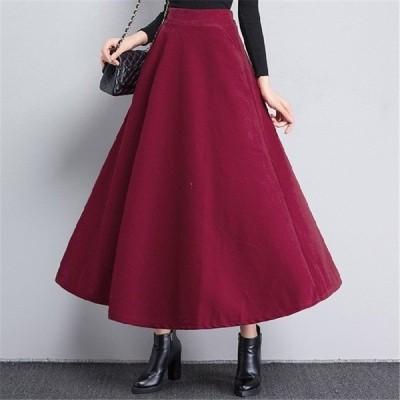 スカート秋レディース大きいサイズロングマキシ丈体型カバーフレアAラインジーンズロングスカート6色