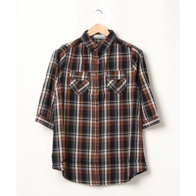 シャツ ブラウス CR フラップポケットチェックシャツ