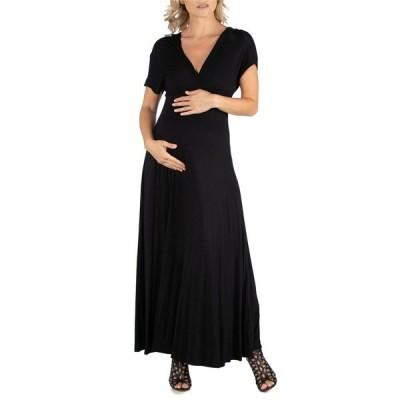 24セブンコンフォート ワンピース トップス レディース Cap Sleeve V Neck Maternity Maxi Dress Black