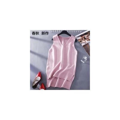 ニットベスト レディース ノースリーブ ミディアム丈 Vネック ニット セーター 無地 ゆったり 大きいサイズ 体型カバー 着痩せ  春秋 新作 Tman