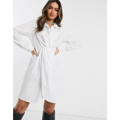 パブリックディザイア Public Desire レディース ワンピース シャツワンピース ワンピース・ドレス structured shirt dress in cotton ホワイト