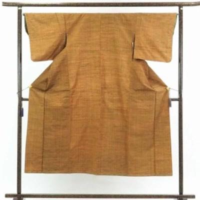 【中古】リサイクル着物 紬 / 正絹茶色地袷紬着物未使用品 / レディース【裄Mサイズ】