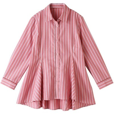 セシール フレアシャツ UVケア 7分袖 後ろ裾長めのヘムライン レディース ピンク系 日本 S (日本サイズS相当)