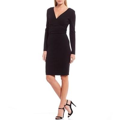 ドレスザポプレーション レディース ワンピース トップス Drew V-Neck Long Sleeve Ruched Waist Stretchy Sheath Dress