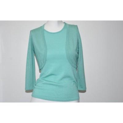 セーター オスカーデラレンタ Oscar de la Renta 2 Pc Set Cashmere Silk Top + Bolero Turquoise Blue Green S