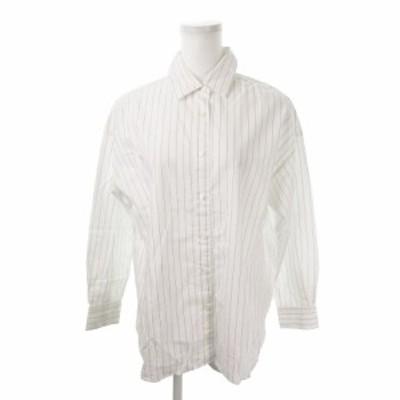 【中古】フレイアイディー FRAY I.D シャツ 長袖 ストライプ オーバーサイズ 0 白 ホワイト /MN15 ☆ レディース