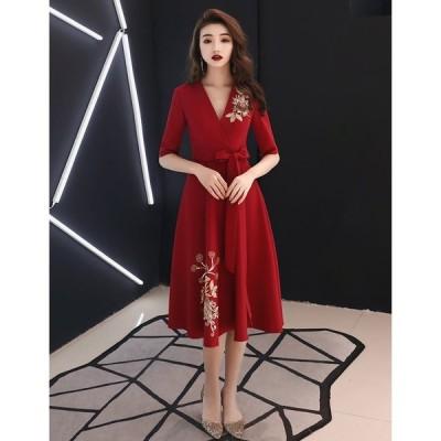 ミモレ丈 お呼ばれドレス 高品質 結婚式 大きいサイズ コンサート 二次会 パーティードレス Vネック きれいめ ワンピース レディース 赤レッド 袖あり
