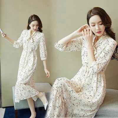 パーティードレス ワンピース 結婚式 お呼ばれ 同窓会 花柄 ロングドレス 袖あり ワンピースドレス 薄手 20代 30代 40代