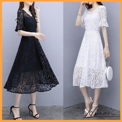 パーティードレス ミディ丈 五分袖 レース 刺繍 透け感 ワンピドレス  お呼ばれ 20代 30代 40代 お取り寄せ