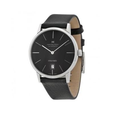 Intra-Matic Black Dial Leather Men's Watch