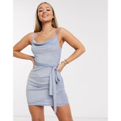 アックスパリス ミディドレス レディース AX Paris cowl neck mini dress in blue metallic エイソス ASOS ブルー 青