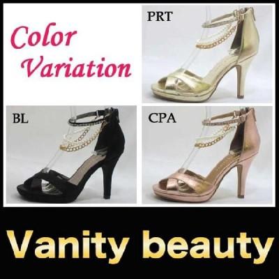 訳あり送料無料(箱潰れ等) ハイヒール パンプス Vanity Beauty (バニティー ビューティー)(9952) ラインストーン パール クロスベルト アンクルストラップ