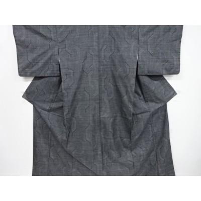 リサイクル 幾何学模様織り出し本場泥大島紬着物(5マルキ)